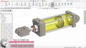 Mô hình 3d Xi lanh thủy lực công nghiệp